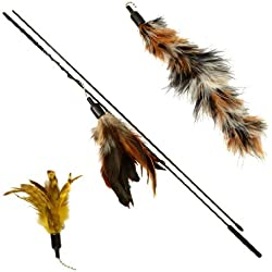 The Nature Feather Wand Cat Toy with 3-Piece Refill by The Natural Pet Company