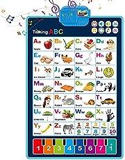 likeitwell Elektroniczny interaktywny alfabet wykresy ścienne, mówienie ABC & 123 i plakat muzyczny, idealne zabawki edukacyjne do przedszkola/przedszkola/przedszkola, najlepszy plakat do nauki mówienia dla chłopców i bezpieczeństwa
