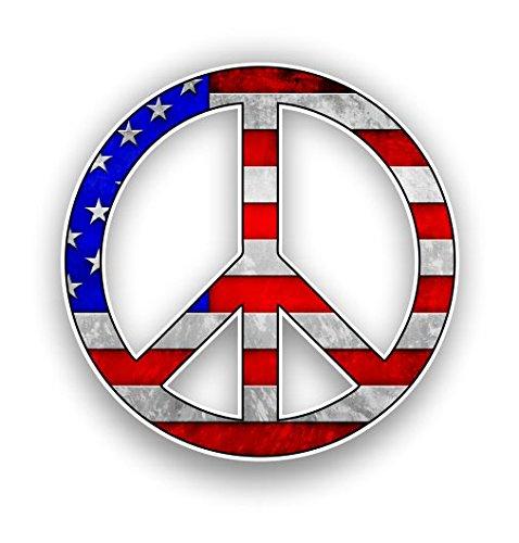 - Vinyl Junkie Graphics Peace Sign Custom Graphic Decal Window Laptop Car Truck Window Sticker (American Flag)