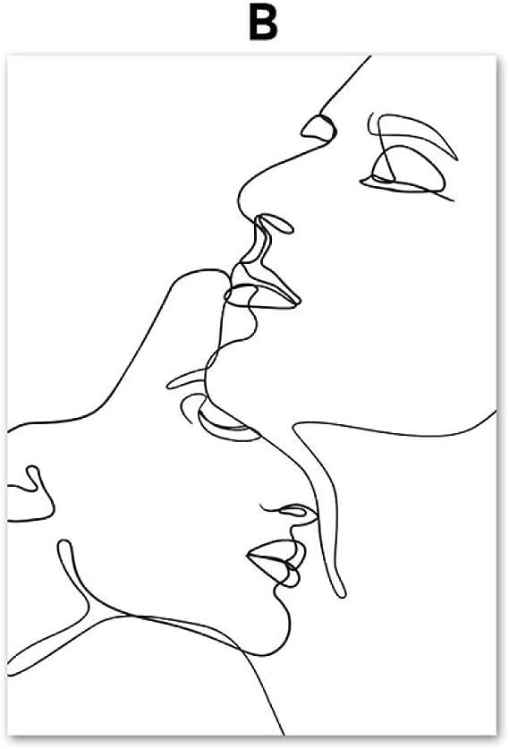 LiMengQi2 Línea Abstracta Dibujo Amor Beso Chica Sexy Pared Arte ...