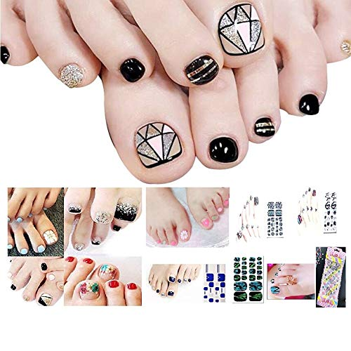 Bavs 10 DIFFERENT SHEET toes nail stickers Decal Beauty for Women Girls Kids Decals Manicure polish 3d art Glass slice toe nail sticker/Bling Bling Cubic 1 (Random)