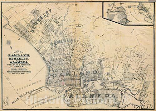 Historic Map   Oakland, Berkeley, Alameda. 1884   Vintage Wall Art   44in x 32in