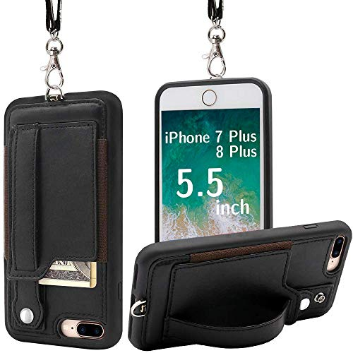 TOOVREN Upgraded iPhone 7 Plus Case, iPhone 8 Plus Wallet Case, Necklace Lanyard Case with Kickstand Card Holder, Ajust Detachable Anti-Lost Lanyard Strap Perfect for Daily use, Work, Outdoors Black