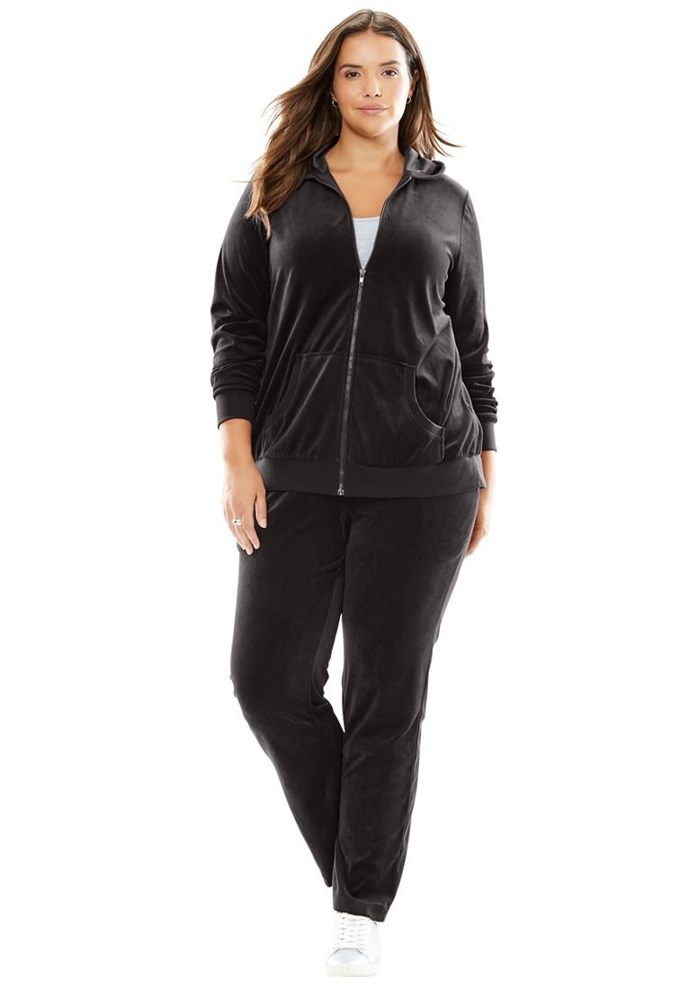 Women's Plus Size Two-Piece Velour Hoodie Set Black,26/28