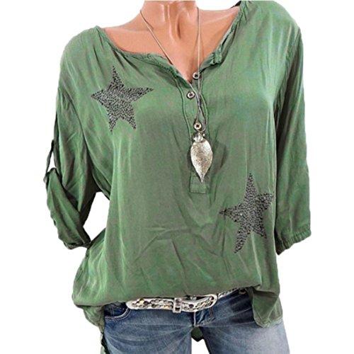 Long Sleeve Shirt Women, Casual Plus Size Floral Tops Button Blouse Tops Tunic Crop Tops T Shirt Clothing (Dark Blue, XL) (Green, XL)