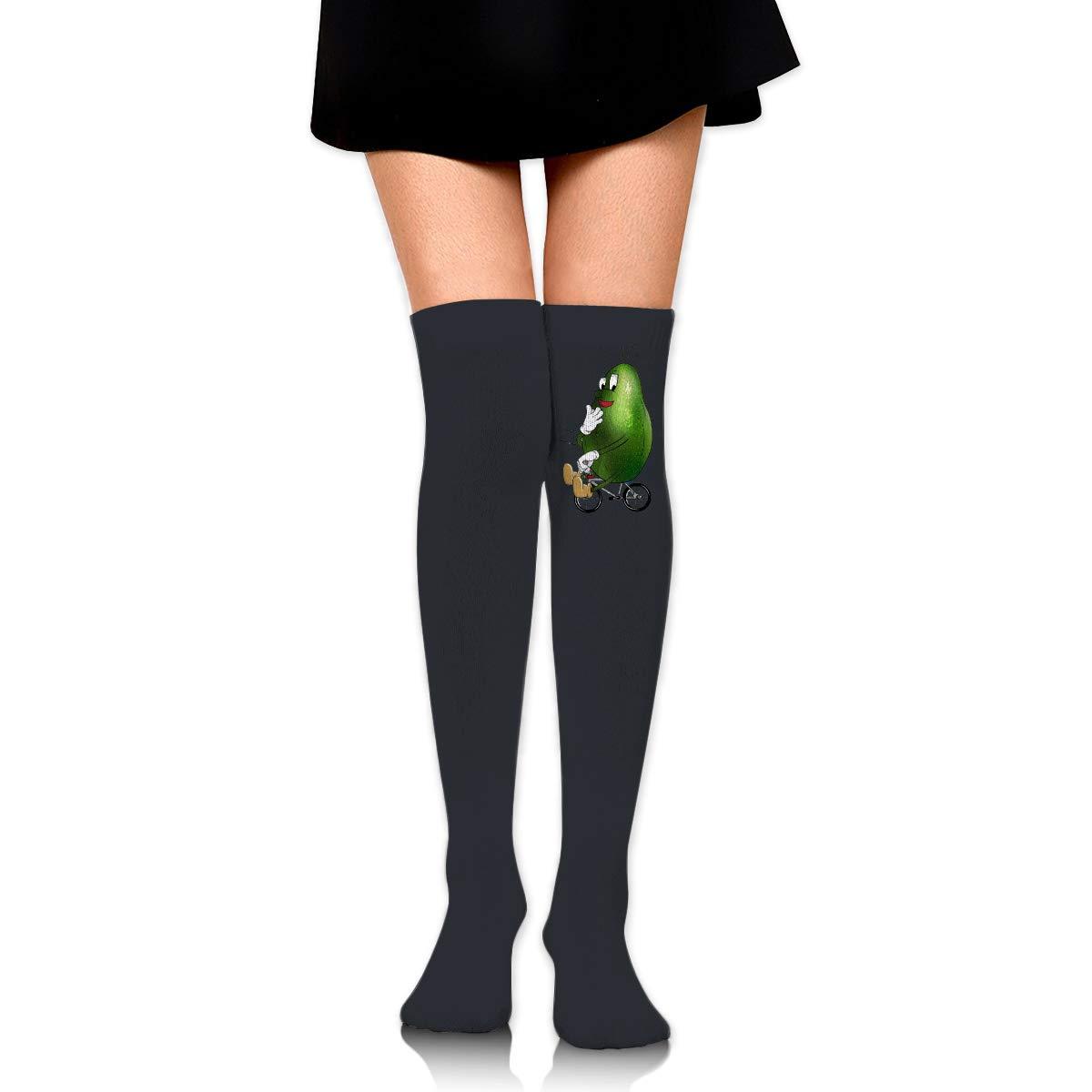 Avocado Riding Bike Logo Long Tight Thigh High Socks Over The Knee High Boot Stockings Leg Warmers
