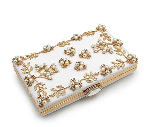 Purse Bags NBWE Women Evening Clutch Bag Pearls White Clutches T6aT0Y