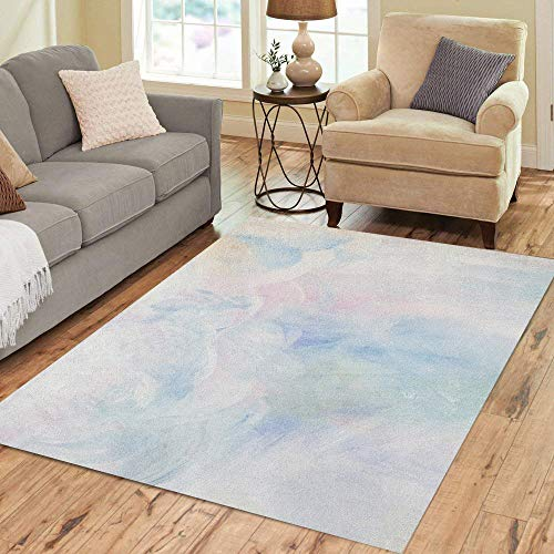 Semtomn Area Rug 5' X 7' Paint on Canvas Pastel Colors Pale Lots of Space Home Decor Collection Floor Rugs Carpet for Living Room Bedroom Dining Room