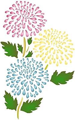 Chrysanthemum plantilla – reutilizable de pared plantillas para pintar – mejor calidad ideas para mamá pared flores – uso en paredes, suelos, tejidos, ...