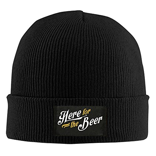 ROCHELLE AYOKO Here For The Beer Winter Warm Knit Hats Skull Caps Thick Cuff Beanie Hat Unisex
