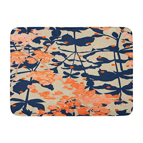 Beige Pattern,Darkchocl Decorative Bath Mat Seamless Pattern Coral Vine Flower and Absorbent Non Slip 100% Flannel 17''L x 24''W for Bathroom Toilet Bath Tub Living Room