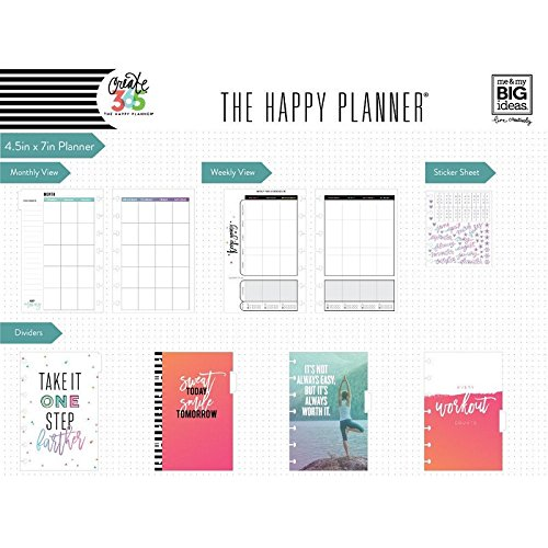 me & my BIG ideas Create 365 The Happy Planner Mini Fitness Tracker and Food Journal, Sweat Smile Repeat, 12 Month Undated