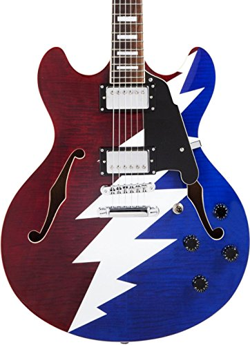 D'Angelico Premier Grateful Dead DC Semi-Hollow Electric Guitar – Red, White & Blue