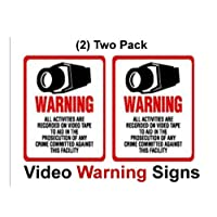 SECURITY SIGN - 2 pk #204 Commercial Grade Outdoor/Indoor Security Surveillance CCTV Video Warning! Sign #204