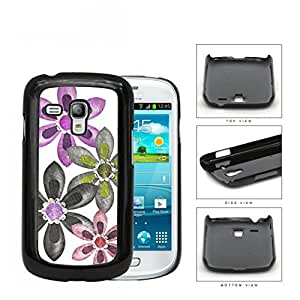 Grunge Flower Sketch With Amethyst Stones Hard Plastic Snap On Cell Phone Case Samsung Galaxy S3 SIII Mini I8200