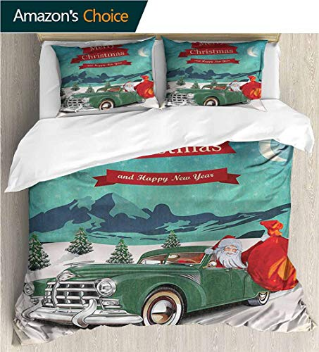 VROSELV-HOME Cotton Bedding Sets,Box Stitched,Soft,Breathable,Hypoallergenic,Fade Resistant Bedding Set for Teen 3Pcs-Christmas Santa in Classic Car (87