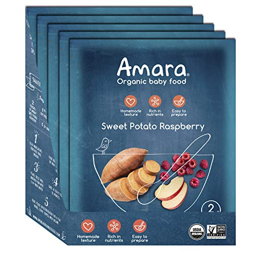 Amara Baby Food, Sweet Potato Raspberry, Healthy Baby & Infant Food, Organic Fruits and Veggies for Baby's First Meals - Stage 2 (5 Pouches)