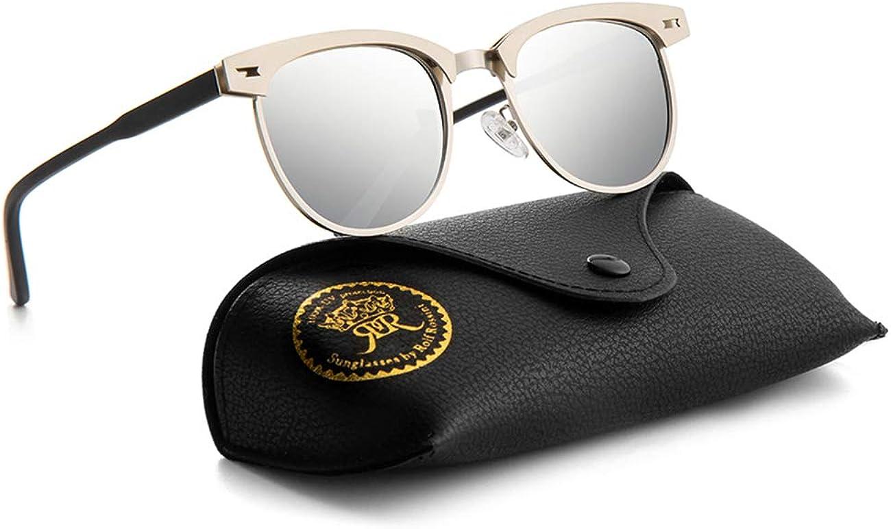 Semi Rimless Polarised Black Sunglasses Mens Retro Sunglasses Classic Metal Retro Rivets Women Sun Glasses