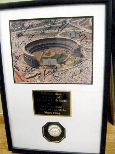 (Autograph Warehouse 68872 William Shea Autographed Baseball Shadowbox Framed With Shea Stadium Photo Signed By Hernandez, Kingman, Hook, Fisher, Etc 20X36)