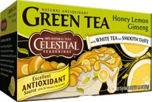 - Celestial Seasonings Green Tea Honey Lemon Ginseng with White Tea -- 20 Tea Bags - PACK of 2 by Celestial Seasonings