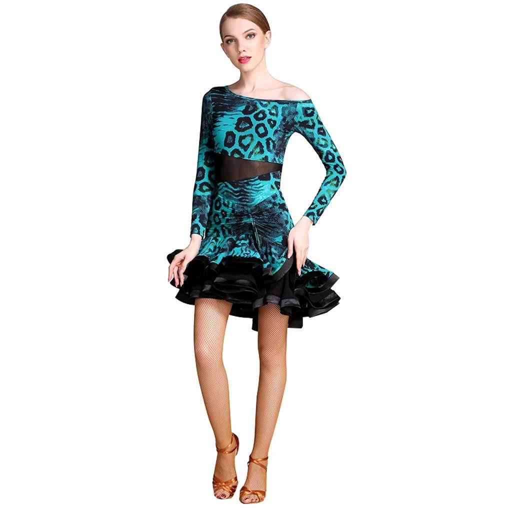 アダルトラテンダンスドレス女性、ナショナルスタンダードダンスドレスラテンパフォーマンススカート B07H95PPNW  グリーン S s