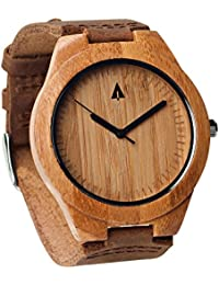 Mens Wooden Bamboo Watch with Genuine Brown Leather Strap...