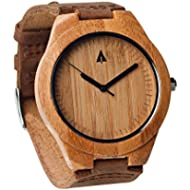 [Sponsored]Treehut Mens Wooden Bamboo Watch with Genuine Brown Leather Strap Quartz Anal...