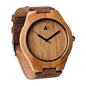 Treehut Mens Wooden Bamboo Watch with Genuine Brown Leather Strap Quartz Analog with Quality Miyota Movement, 1.7 inches