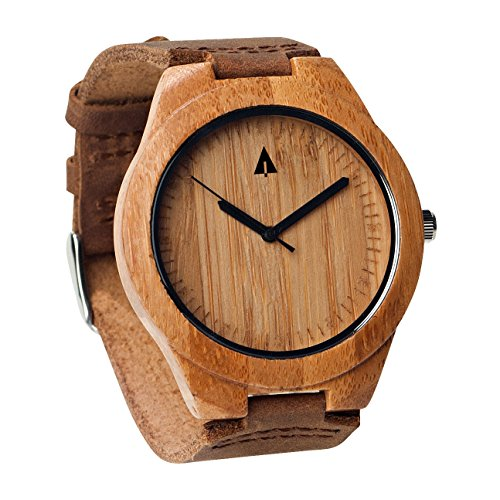 Treehut Mens Wooden Bamboo Watch with Genuine Brown Leather Strap Quartz Anal...