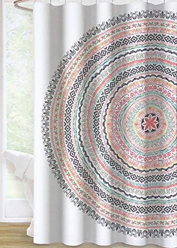 Envogue Designer Shower Curtain Large Round Geometric Boho Tapestry Medallion in Shades of Red Green Orange Black on White 100% Cotton Luxury (Tapestry Shower Curtain)
