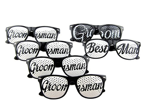[6 Pack] Bachelor Party Sun Glasses Set for Bachelor Party - Groom Party Favors - Fun Photo Props Novelty Ideas (Black)