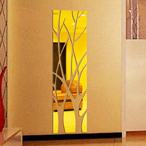 Naladoo Modern Mirror Style Removable Decal Art Mural Wall Sticker Home Room DIY Decor Gold / Silver / Black,Fashion Personalized Home Space Decorative DIY Arts (Gold)