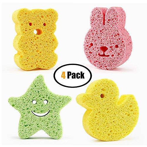 4 Pack Baby Bath Sponge, Baby Bath Foam Rub Shower Sponge, Soft Cotton Scrubber Bath Brush Rubbing Towel for Toddler Infant Newborn