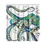 Artown Octopus Shower Curtain, Mint Green Jellyfish Ocean Animal...