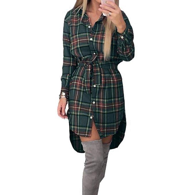 Vestidos Camiseros Mujer Vintage Clásica A Cuadros Blusa Vestido Elegantes Otoño Manga Larga De Solapa Un