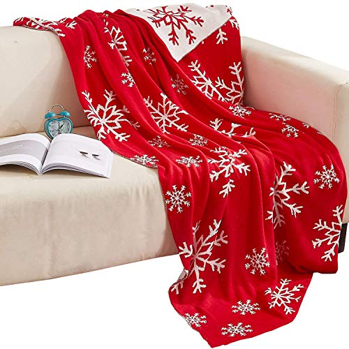 NTBAY 100% Cotton Cable Knit Throw Blanket Super Soft Warm with Snowflakes Pattern Design(51