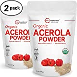 Cheap Pure USDA Organic Acerola Cherries Extract, Organic Natural Vitamin C Powder – 8 Ounce Pack (Pack of 2). Powerful Immune System and Energy Booster, Non-Irradiated, Non-GMO and Vegan Friendly.