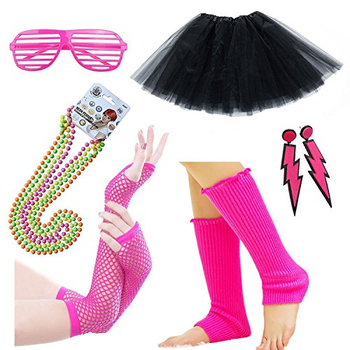 Womens 80s Costume Accessories Fancy Outfit for 1980s Party Tutu Skirt Neon Earrings Sunglass Leg Warmers Gloves Pearls Necklace (80s Halloween Costumes Plastic)
