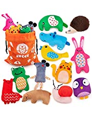 AWOOF New Colorful 12Pcs Small Dog Chew Toy Squeaky Plush Puppy Toys for Teething Puppies Animal Shape Dog Interactive Toys for Small Medium Dogs