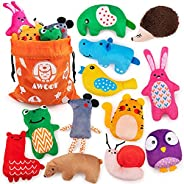 AWOOF New Colorful 12Pcs Small Dog Chew Toy Squeaky Plush Puppy Toys for Teething Puppies Animal Shape Dog Int