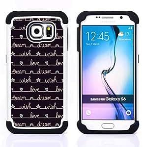 """Samsung Galaxy S6 / SM-G920 - 3 en 1 impreso colorido de Altas Prestaciones PC Funda chaqueta Negro cubierta gel silicona suave (Cuaderno de escritura Diary Estrellas Negro"""")"""