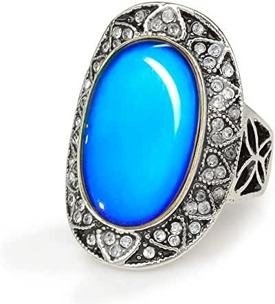 Fun Jewels Boho Gypsy Antique Silver Tone Plating Multi Color Changing Oval Statement Mood Ring Size 6-10