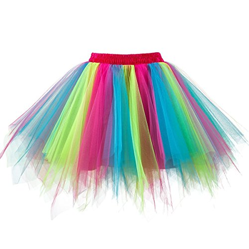 URVIP Women's Vintage 1950s Tutu Multicolor Petticoat Ballet Bubble Dance Skirt Rosy Blue Kelly L/XL]()