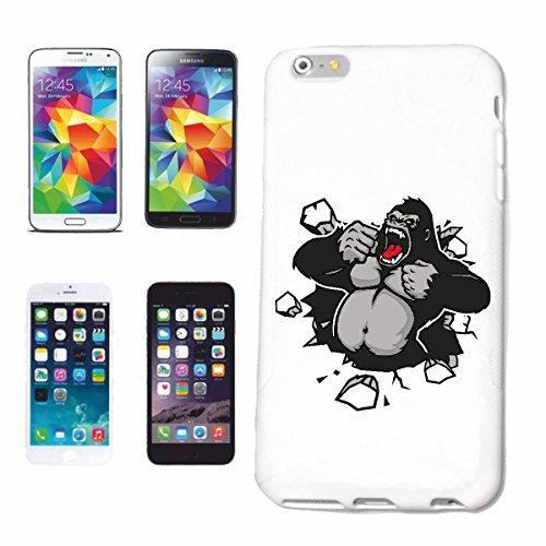 """cas de téléphone iPhone 7+ Plus """"KING KONG MONKEY MONKEY GORILLA CHIMP SILVER RETOUR APE CHARLY MONKEY KING KONG"""" Hard Case Cover Téléphone Covers Smart Cover pour Apple iPhone en blanc"""