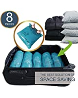 "ARTI ART Space Saver Travel Storage Bags Reusable Vacuum Bag Saving Space for Travelling or Home Compress Roll-Up No Extra Vacuum or Pump Needed (8-Packs) (8, 28""20""+24"" 16"")"