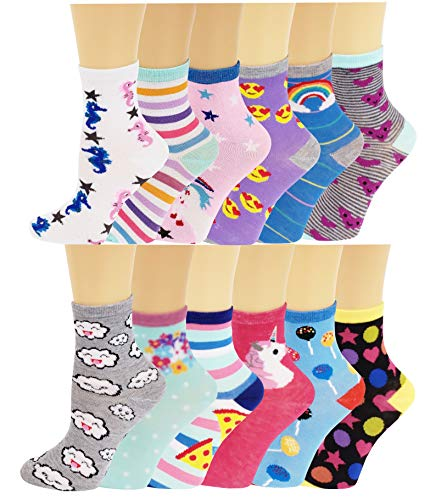 Ayla 12 Pairs Pack Kids Girls Colorful Creative Fun Novelty Design Crew Socks