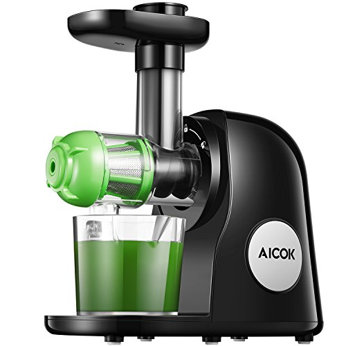 Slow Juicer Masticating Juicer Machine, Aicok Juicers Whole Fruit and Vegetable with Dual-Stage Quiet Motor & Reverse Function, Cold Press Juicer Creates Fresh Healthy Vegetable and Fruit Juice