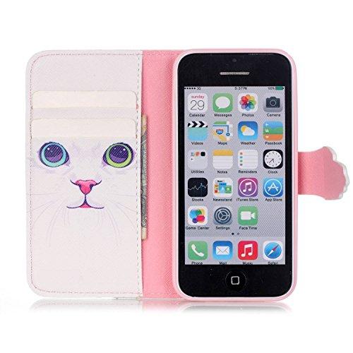 Voguecase® für Apple iPhone SE hülle ,Kunstleder Tasche PU Schutzhülle Tasche Leder Brieftasche Hülle Case Cover (Weiß Katze) + Gratis Universal Eingabestift