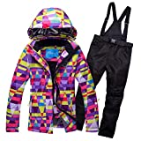 OLEK Women's High Waterproof Technology Bright Color Printed Snowboard Clothing Ski Jacket and Pants Set