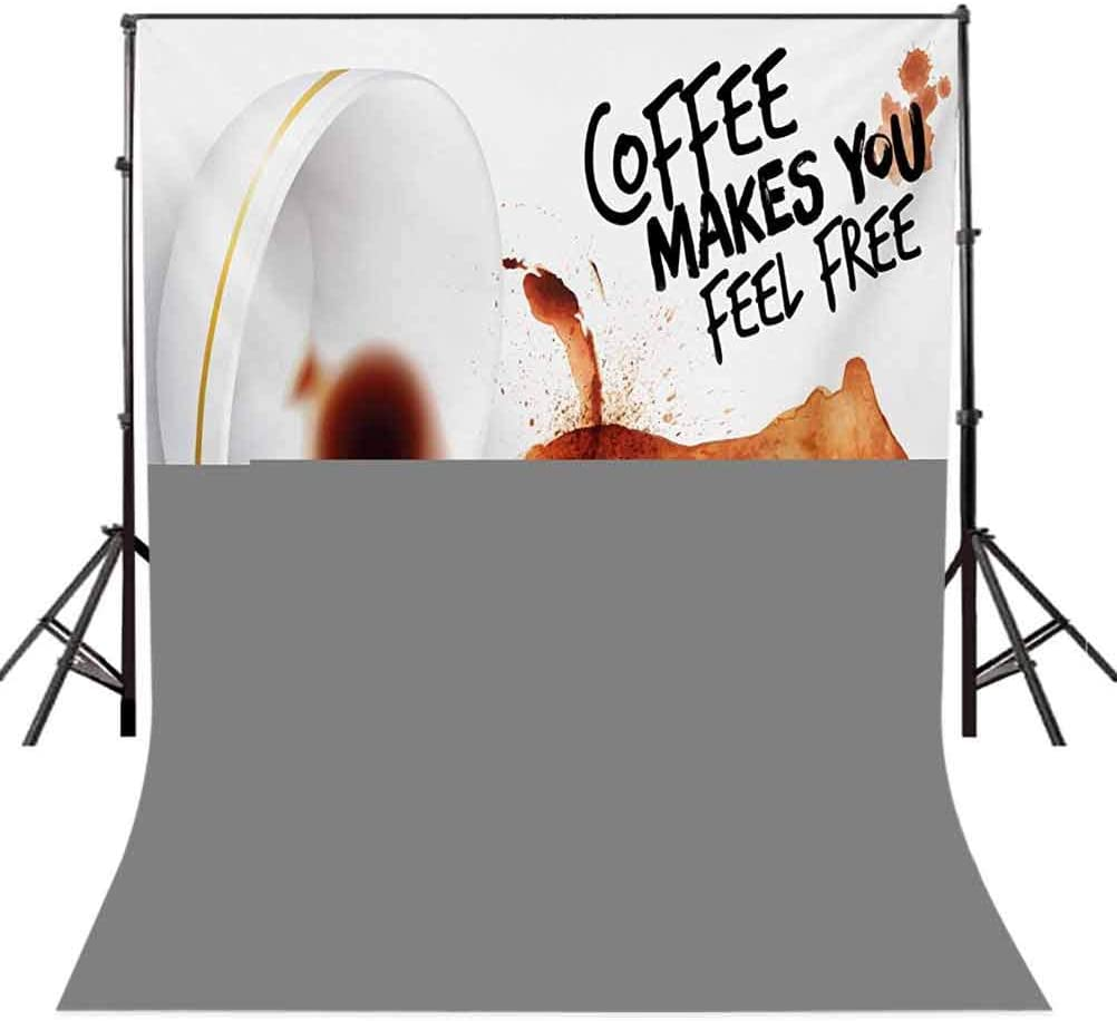 Coffee Art 10x12 FT Backdrop Photographers,Bear Silhouette with Spilled Coffee Cup with Inspirational Quote Background for Photography Kids Adult Photo Booth Video Shoot Vinyl Studio Props